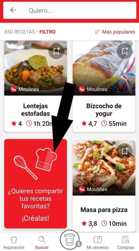 highlighting the create and share recipes feature from the recipe search page in the Companion app